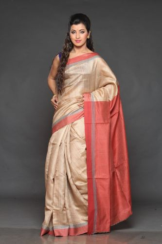 Kosa Sarees-Cream And Tomato Coloured Kosa Silk Saree
