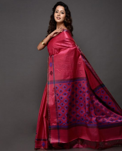 Kosa Sarees-Pink Kosa Silk Saree With Geometric Designs 3