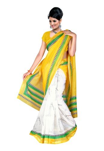 Kosa Sarees-Yellow And White Printed Kosa Silk Saree 06