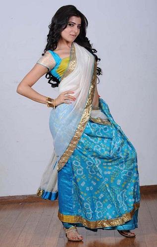 Light Blue And White Half-Half Saree