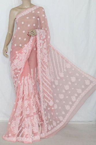 Light Peach Colored Netted Designer Chikankari Saree