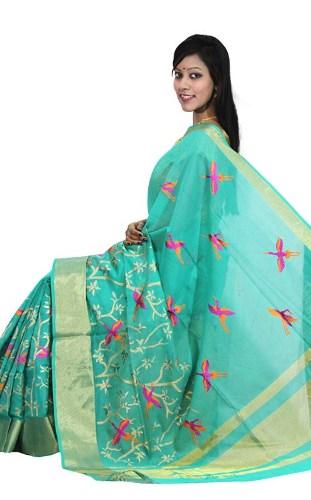 Maheshwari Sarees-Aqua Blue Maheshwari Printed Cotton Saree 5