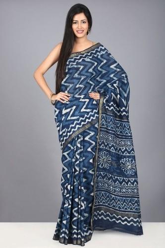 Maheshwari Sarees-Blue Tussar Silk Maheshwari Sari 9