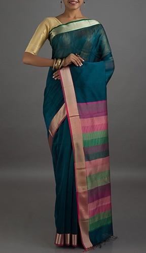 Maheshwari Sarees-Dark Blue Maheshwari Cotton Silk 4