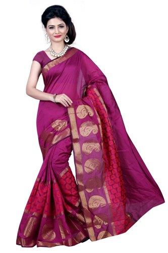 Maheshwari Sarees-Dark Pink Handloom Maheshwari Saree 7