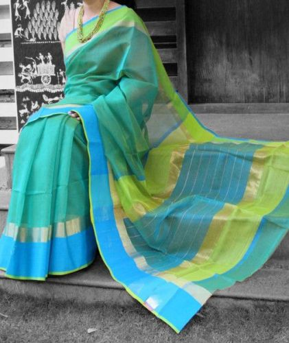 Maheshwari Sarees-Handloom Maheshwari In Blue And Green 6