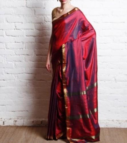 Maheshwari Sarees-Pure Silk Maheshwari Sari In Maroon 8