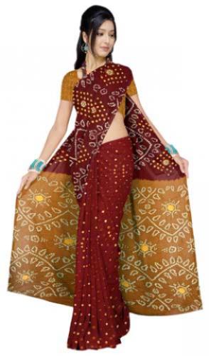 Maroon Coloured Bandhani Cotton Saree