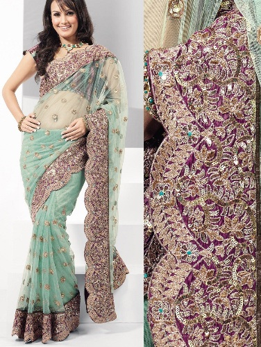 Mint Green Heavy Embellished Party Sari 4