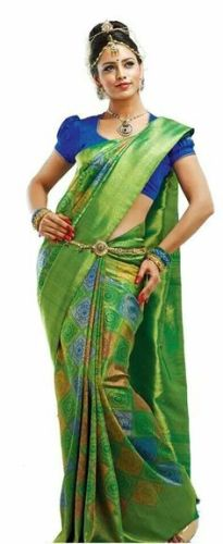 Nalli Sarees-Heavy Embroidered Green Saree 4