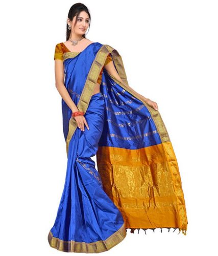 Nalli Sarees-Minaxi Blue Nalli Cotton Saree 13