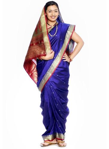 Nauravi Sarees-Blue Nauravi Saree 1