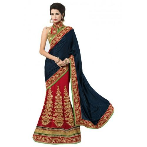 Navy Blue And Red Jacquard Georgette Sari 6