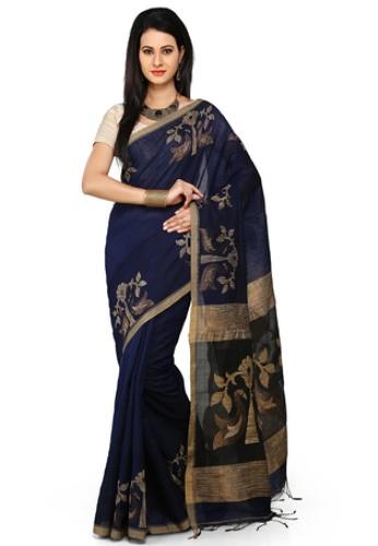 Navy Blue Cotton Silk Jamdani 4