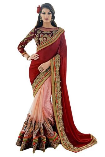 Party Wear Sarees-Beautiful Chiffon Party Wear Saree 9