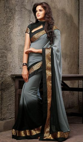 Party Wear Sarees-Black And Gray Designer Saree 21