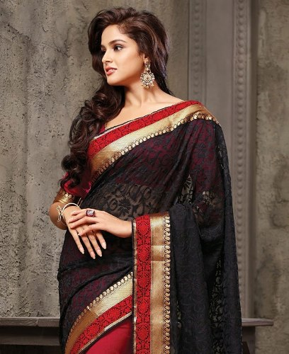 Party Wear Sarees-Black Party Shine 17