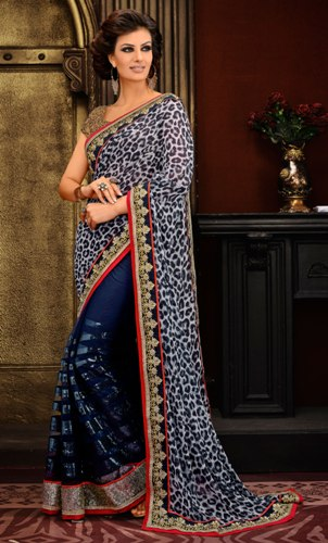 Party Wear Sarees-Blue Designer Party Wear Model Saree 24