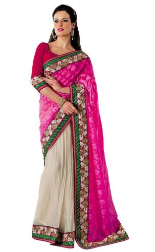 Party Wear Sarees-Charming Pink Indian Designer Party Wear Saree 28