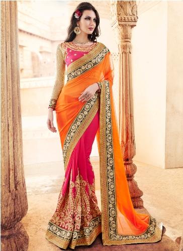 Party Wear Sarees-Deep Pink And Orange Designer Saree 23
