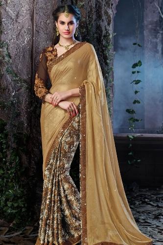 Party Wear Sarees-Golden Designer Saree 12