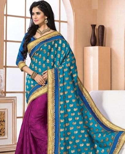 Party Wear Sarees-Gran Blue Party Wear Saree 16