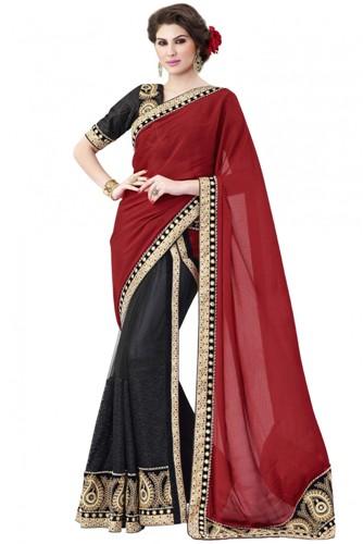 Party Wear Sarees-Heavy Red Chiffon Saree 11