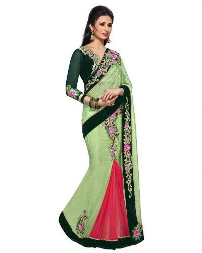 Party Wear Sarees-Light Green Designer Saree 7