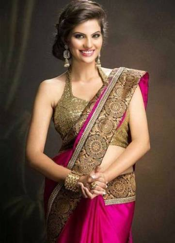 Party Wear Sarees-Pink And Golden Party Wear Saree 30