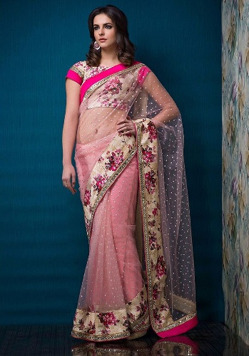 Party Wear Sarees-Pink Party Allure 15