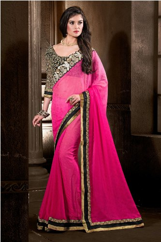 Party Wear Sarees-Pink Party-Wear Saree For Designer Blouses 27