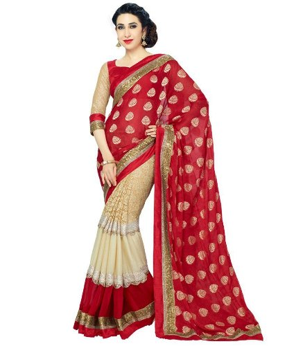 Party Wear Sarees-Red Dotted Party Wear Saree 5