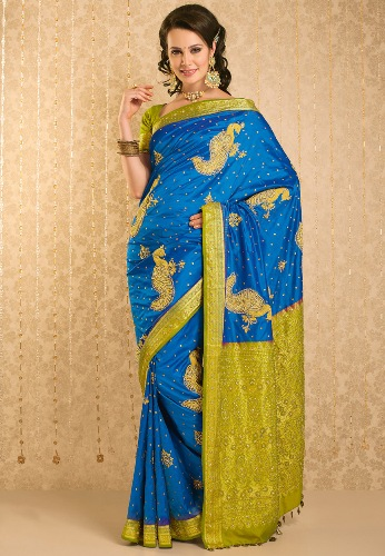 Blue Gold Pattu Saree