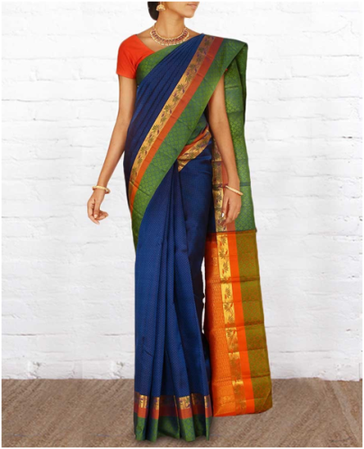 Dark Blue Parampara Pattu Saree