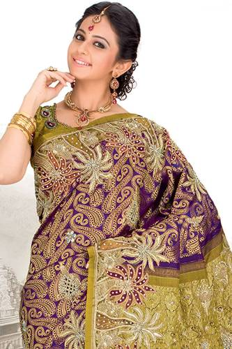 Purple Pattu Wedding Saree With Stone Work