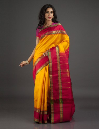 Yellow And Red Kanchi Silk Saree