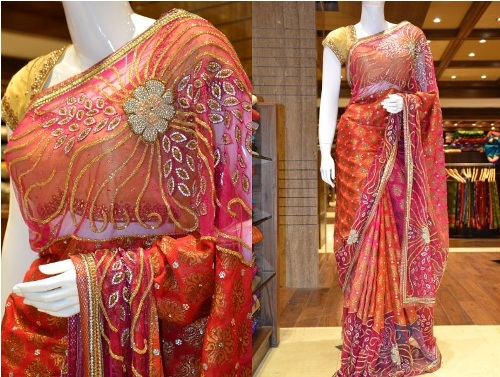 Peaches And Cream Stonework Sari 6
