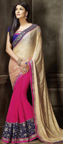Pink And Beige Brasso Saree 7