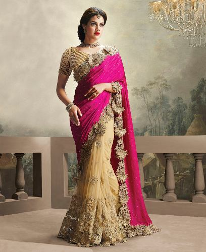 Pink And Gold Half Satin Half Net Sari 8