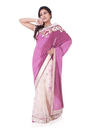 Pink And White Half Half Leheriya And Net Saree 5