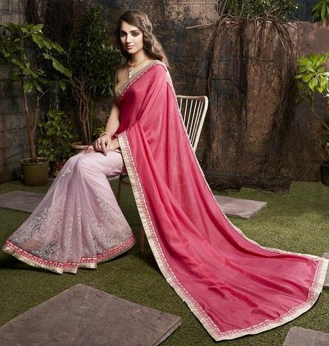 Pink Half And Half Designer Saree
