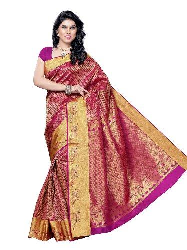 Pink Two Tone Silk Sari 7
