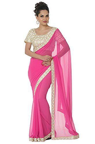 Plain Saris-Baby Pink Plain Sari 6