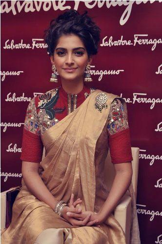 Plain Saris-Golden Shimmery Sari 7