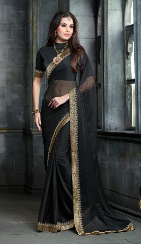 Plain Saris-Plain Black Sari 2