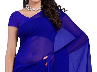 Plain Saris-Plain Solid Blue Sari 4