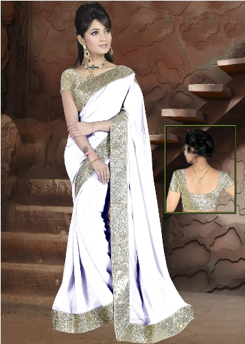 Plain Saris-Pure White Plain Sari With Border 5