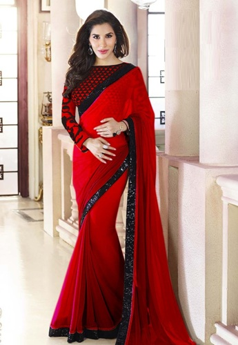 Plain Saris-Red Georgette Sari 3