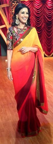 Plain Saris-Yellow And Orange Ombre Sari 1