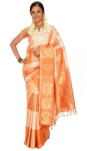 Pothys Off-White And Orange Kanjeevaram Silk Saree
